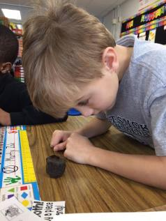 """Using our sense of SIGHT. The soil pods LOOK brownish-black, like cylinders, they're small, and (my personal favorite) """"They look like brownies!"""""""